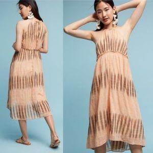 Akemi + Kin Anthropologie Ikat Peach Halter Dress